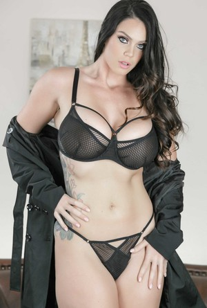 Big tit MILF Alison Tyler takes her coat & lingerie off and poses on the sofa