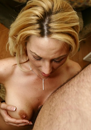 Escort in high heels Sindy Lange gives a titjob and blowjob to a hairy dude