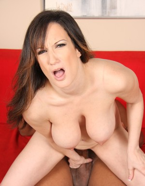 Huge titted MILF Stephanie Wylde sucks a BBC while riding another one