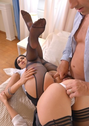 Sexy Kira Queen  Darce Lee in a XXX foot fetish threesome with a big dick guy