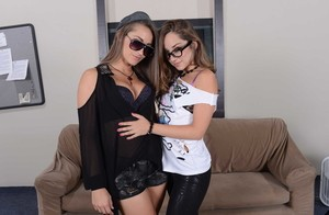 White chicks Dani Daniels & Remy LaCroix strip each other for anal play
