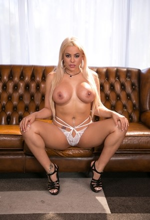 Hot blonde model Luna Star slips out of sexy lingerie to pose nude