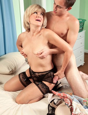 Younger white boy is seduced by horny grandmother on the go Ellie Anderson