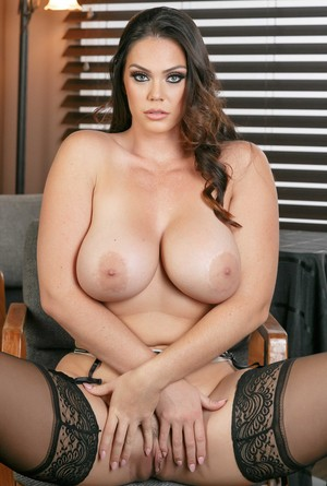 Astonishing Alison Tyler wears stockings while displaying her big tits