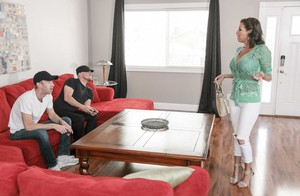 While Veronica Avluv was masturbating, her son's friend came to fuck her hard