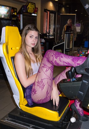 Hot girlfriend Lindsay Bare wears a purple skirt and amazing purple stockings