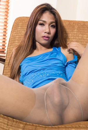 Asian shemale sticks a dildo up her asshole while stroking her small cock