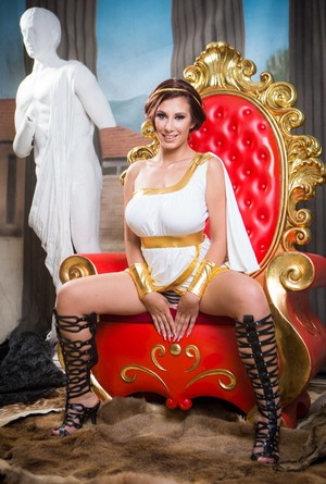 Hungarian model Ayda Swinger sets her big boobs free of Cleopatra outfit