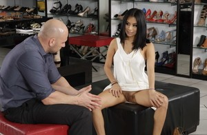 Beautiful Latina teen Monica Asis seduces a salesman after some foot worship
