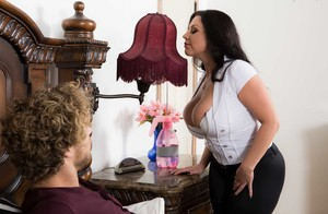 Busty chick Sheridan Love seduces her stepson that is around her age