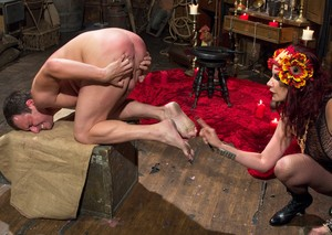 Dominatrix Maitresse Madeline Marlowe tops a male slave in femdom action