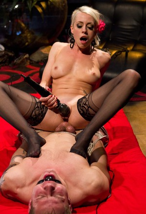 Blonde domme Lorelei Lee submits a male slave to a CBT session