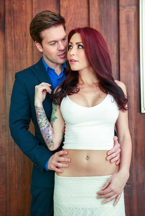 Redhead wife Monique Alexander and her husband discuss couples fantasies