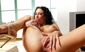 Interracial anal sex scene featuring arousing brunette with tattooed back