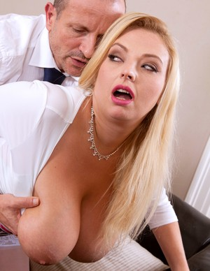 Presentable man throws a leg to blonde bombshell Angel Sweets in stockings