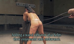 Exotic Penny Barber gets  bound to some wood while being whipped