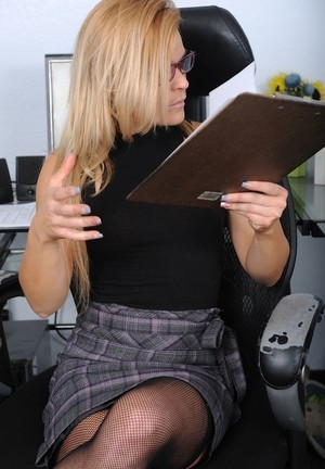 Horny nerdy mature Blaten Lee at the office decided to strip down