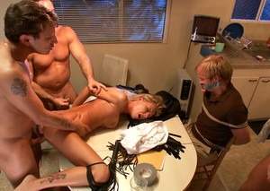 Man pays his old debts with beautiful blonde wife fucked by three guys