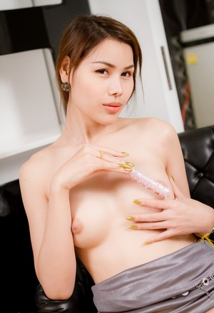 Fashioned Asian ladyboy with petite cock puts tiny sex toy in tight asshole