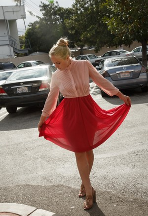 Blonde girl Ira Greene lifts up her skirt in parking lot and inside the store