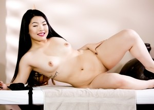 South Korean chick Nari Park gets undressed for her job at massage parlor
