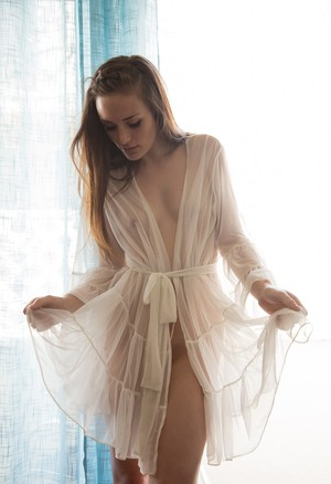 Amateur babe in a sexy see-through robe Diana Mackie likes to tease