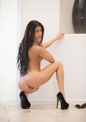 Latina solo girl with long hair that touches her ass models in the nude