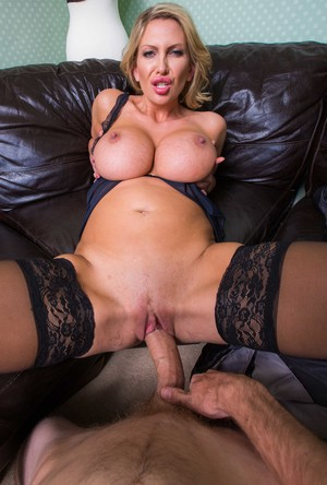 Older lady Leigh Darby fucks the young boys she caught rooting thru her undies