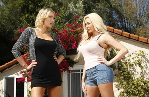 Blonde babes Summer Brielle & Leigh Darby hold their hooters after disrobing