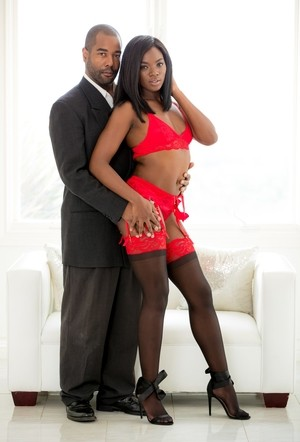Hot black girl Ana Foxxx seduces her executive husband in nylons and garters