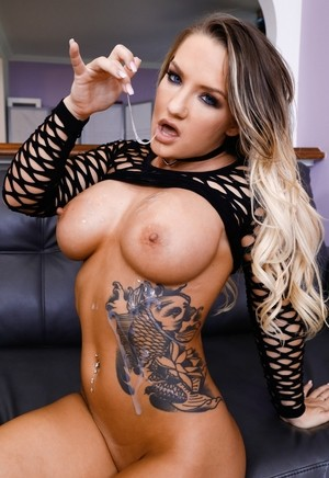 Dirty blonde female Cali Carter eats jizz from her fingers after a hard fuck