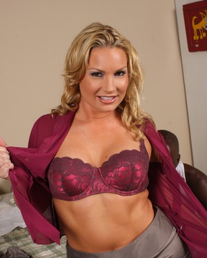 Blonde cougar Flower Tucci seizes on the opportunity to bang 2 big black dicks