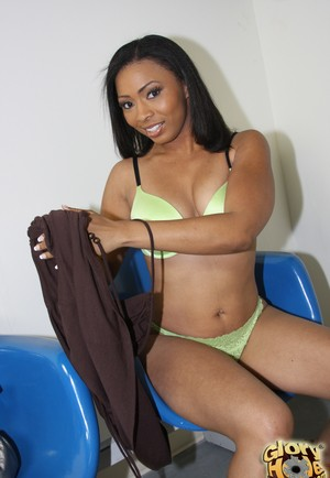 Ebony babe surprises guy on the other side of the wall with mouth and pussy