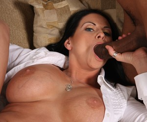 Dark haired cougar Harley Raines fucks 3 big black dicks at once