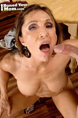 Great looking cougar Luna Azul rides her pierced cunt on a stud's fat dick