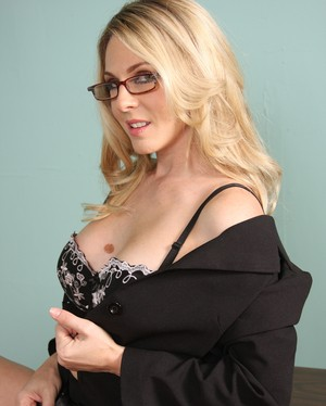Secretary with sexy glasses Angela Attison got her ass stretched out by a BBC