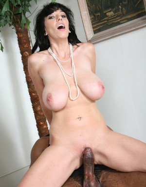 Busty secretary Alia Janine gets pounded by a black dude in front of her son