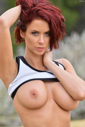 Fit redhead gets turned on while performing acts of public nudity