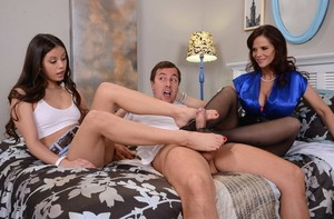 Mature lady Syren De Mer and stepdaughter Lucy Doll have a threesome