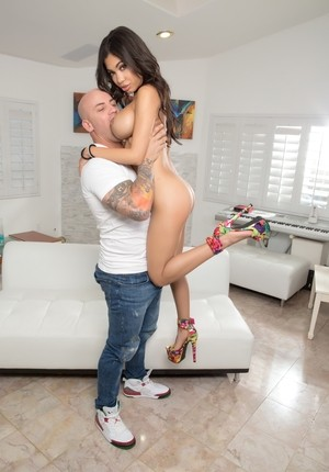 Big tit Latina Shay Evans gets bent over and drilled by Derrick Pierce