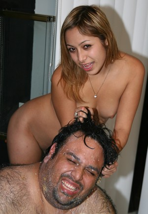 Latin American chick Kat rides a fat man's dick during messy sex by fireplace
