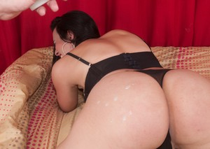 Brunette shemale Luana Dias gets butt fucked and covered in candle wax