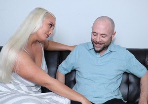 Juicy blonde Macy Cartel gets down on her knees and blows off her man