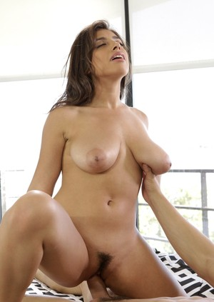 Latina beauty Ella Knox takes a bast of jizz on her big natural boobs