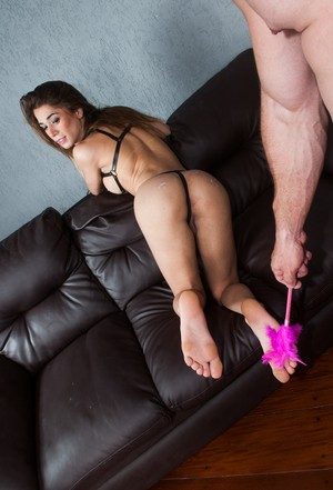 Shemale Jackeline Dark is tortured and tickled before a butt banging