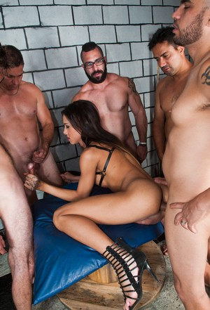 Horny shemale Gabi Ferrari sucks off some studs while receiving anal as well