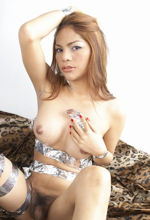 Lusty shemale in silver ribbon tape Anny flashing her lovely Asian penis
