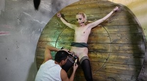 Skinny slave Roxy Lee with small titties was punished by dominant with toy