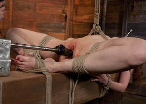 Restrained chick Kendra James gets machine fucked during painful bondage games