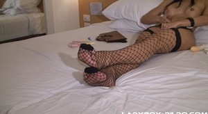 Shemale Yee toys her ass and jerking in her favourite stockings
